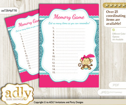 Girl Monkey Memory Game Card for Baby Shower, Printable Guess Card, Hot Pink, Glitter