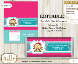 DIY Personalizable Girl Monkey Chocolate Bar Candy Wrapper Label for Girl  baby shower, birthday Hot Pink , editable wrappers