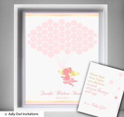 Little Angel Guest Book Alternative for a Baby Shower, Creative Nursery Wall Art Gift, Gold, Pink