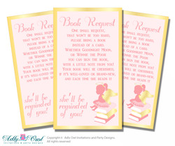 Request a Book Instead of a Card for Little Angel Baby Shower or Birthday, Printable Book DIY Tickets, Pink,Gold