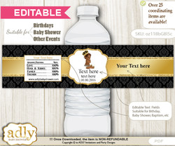 DIY Text Editable African Prince Water Bottle Label, Personalizable Wrapper Digital File, print at home for any event