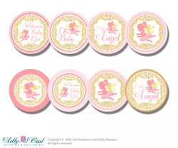 Baby Shower Little Angel Cupcake Toppers Printable File for Little Little and Mommy-to-be, favor tags, circle toppers, Pink, Gold