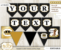 DIY Personalizable African Prince Printable Banner for Baby Shower, Gold, Black