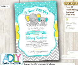 Light Turquoise Grey Yellow Boy Elephant Baby Shower Invitation