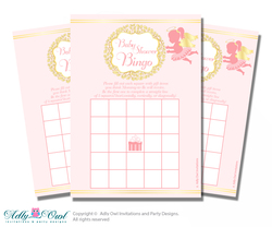 Printable Gold Angel Bingo Game Printable Card for Baby Little Shower DIY grey, Gold, Pink