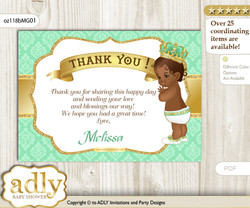 African Prince Thank you Printable Card with Name Personalization for Baby Shower or Birthday Party   n