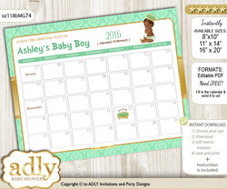 DIY African Prince Baby Due Date Calendar, guess baby arrival date game nn