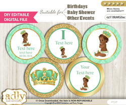 DIY Text Editable African Prince Cupcake Toppers Digital File, print at home, suitable for birthday, baby shower, baptism  nn