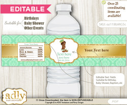 DIY Text Editable African Prince Water Bottle Label, Personalizable Wrapper Digital File, print at home for any event  nn