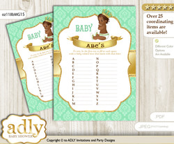 African Prince Baby ABC's Game, guess Animals Printable Card for Baby Prince Shower DIY – Mint