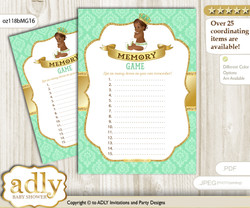 African Prince Memory Game Card for Baby Shower, Printable Guess Card, Gold, Mint