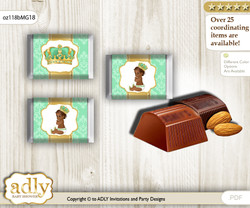 African Prince Chocolate Nuggets Candy Wrapper Label for Baby African Shower  Gold , Mint