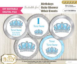 DIY Text Editable Crown Prince Cupcake Toppers Digital File, print at home, suitable for birthday, baby shower, baptism