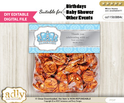 DIY Text Editable Crown Prince Goodie  Treat Bag Toppers, Favor Bag Digital File, print at home