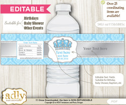DIY Text Editable Crown Prince Water Bottle Label, Personalizable Wrapper Digital File, print at home for any event