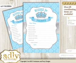 Crown Prince Wishes for a Baby, Well Wishes for a Little Prince Printable Card, Royal, Blue Grey