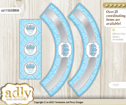 Printable Crown Prince Cupcake, Muffins Wrappers plus Thank You tags for Baby Shower Blue Grey, Royal