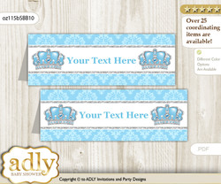 DIY Text Editable Printable Crown Prince Buffet Tags or Food Tent Labels  for a Baby Shower or Birthday , Blue Grey, Royal