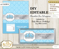 DIY Personalizable Crown Prince Chocolate Bar Candy Wrapper Label for Crown  baby shower, birthday Blue Grey , editable wrappers