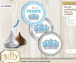 Printable  Crown Prince Candy Kisses for Baby Crown Shower DIY Blue Grey , Royal