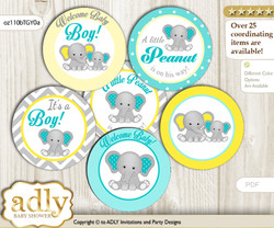Baby Shower Boy Elephant Cupcake Toppers Printable File for Little Boy and Mommy-to-be, favor tags, circle toppers, Grey, Mint Yellow