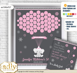 Girl Elephant Guest Book Alternative for a Baby Shower, Creative Nursery Wall Art Gift, Pink Grey, Winter