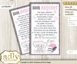 Request a Book Instead of a Card for Girl Elephant Baby Shower or Birthday, Printable Book DIY Tickets, Winter, Pink Grey