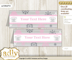 DIY Text Editable Printable Girl Elephant Buffet Tags or Food Tent Labels  for a Baby Shower or Birthday , Pink Grey, Winter