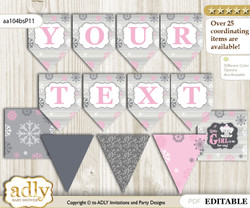 DIY Personalizable Girl Elephant Printable Banner for Baby Shower, Pink Grey, Winter