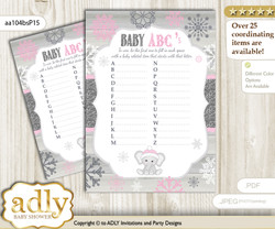 Girl Elephant Baby ABC's Game, guess Animals Printable Card for Baby Elephant Shower DIY – Winter