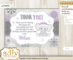 Girl Elephant Thank you Printable Card with Name Personalization for Baby Shower or Birthday Party nnn