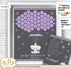 Girl Elephant Guest Book Alternative for a Baby Shower, Creative Nursery Wall Art Gift, Purple Grey, Winter