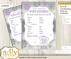Girl Elephant Word Scramble Game for Baby Shower nnn