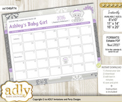 DIY Girl Elephant Baby Due Date Calendar, guess baby arrival date game nn