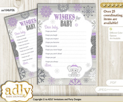 Girl Elephant Wishes for a Baby, Well Wishes for a Little Elephant Printable Card, Winter, Purple Grey