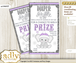 Girl Elephant Diaper Raffle Printable Tickets for Baby Shower, Purple Grey, Winter