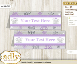 DIY Text Editable Printable Girl Elephant Buffet Tags or Food Tent Labels  for a Baby Shower or Birthday , Purple Grey, Winter