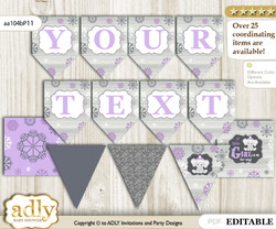 DIY Personalizable Girl Elephant Printable Banner for Baby Shower, Purple Grey, Winter