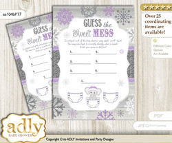 Girl Elephant Dirty Diaper Game or Guess Sweet Mess Game for a Baby Shower Purple Grey, Winter