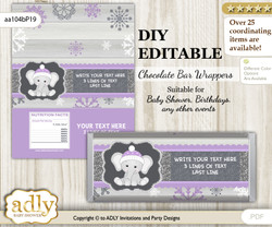 DIY Personalizable Girl Elephant Chocolate Bar Candy Wrapper Label for Girl  baby shower, birthday Purple Grey , editable wrappers