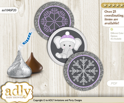 Printable  Girl Elephant Candy Kisses for Baby Girl Shower DIY Purple Grey , Winter