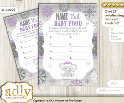 Girl Elephant Guess Baby Food Game or Name That Baby Food Game for a Baby Shower, Purple Grey Winter