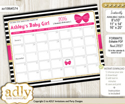 DIY Girl Bow Baby Due Date Calendar, guess baby arrival date game