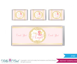 Little Angel Chocolate Bar Wrapper and Nuggets Candy Wrapper Label for Baby Little Shower Gold , Pink