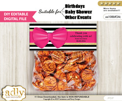 DIY Text Editable Girl Bow Goodie  Treat Bag Toppers, Favor Bag Digital File, print at home
