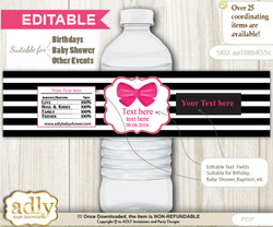 DIY Text Editable Girl Bow Water Bottle Label, Personalizable Wrapper Digital File, print at home for any event