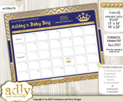 DIY Royal Prince Baby Due Date Calendar, guess baby arrival date game nn