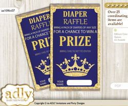 Royal Prince Diaper Raffle Printable Tickets for Baby Shower, Blue Gold, Crown nn