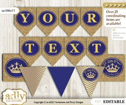 DIY Personalizable Royal Prince Printable Banner for Baby Shower, Blue Gold, Crown nn