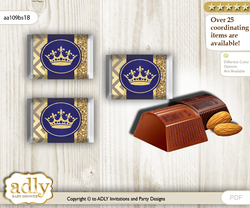 Royal Prince Chocolate Nuggets Candy Wrapper Label for Baby Royal Shower  Blue Gold , Crown nn